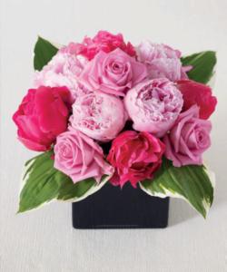 Peonies and roses flower arrangements